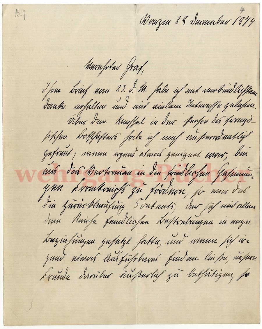 Brief Von Otto : Autograph otto von bismarck handschriftlicher brief mit
